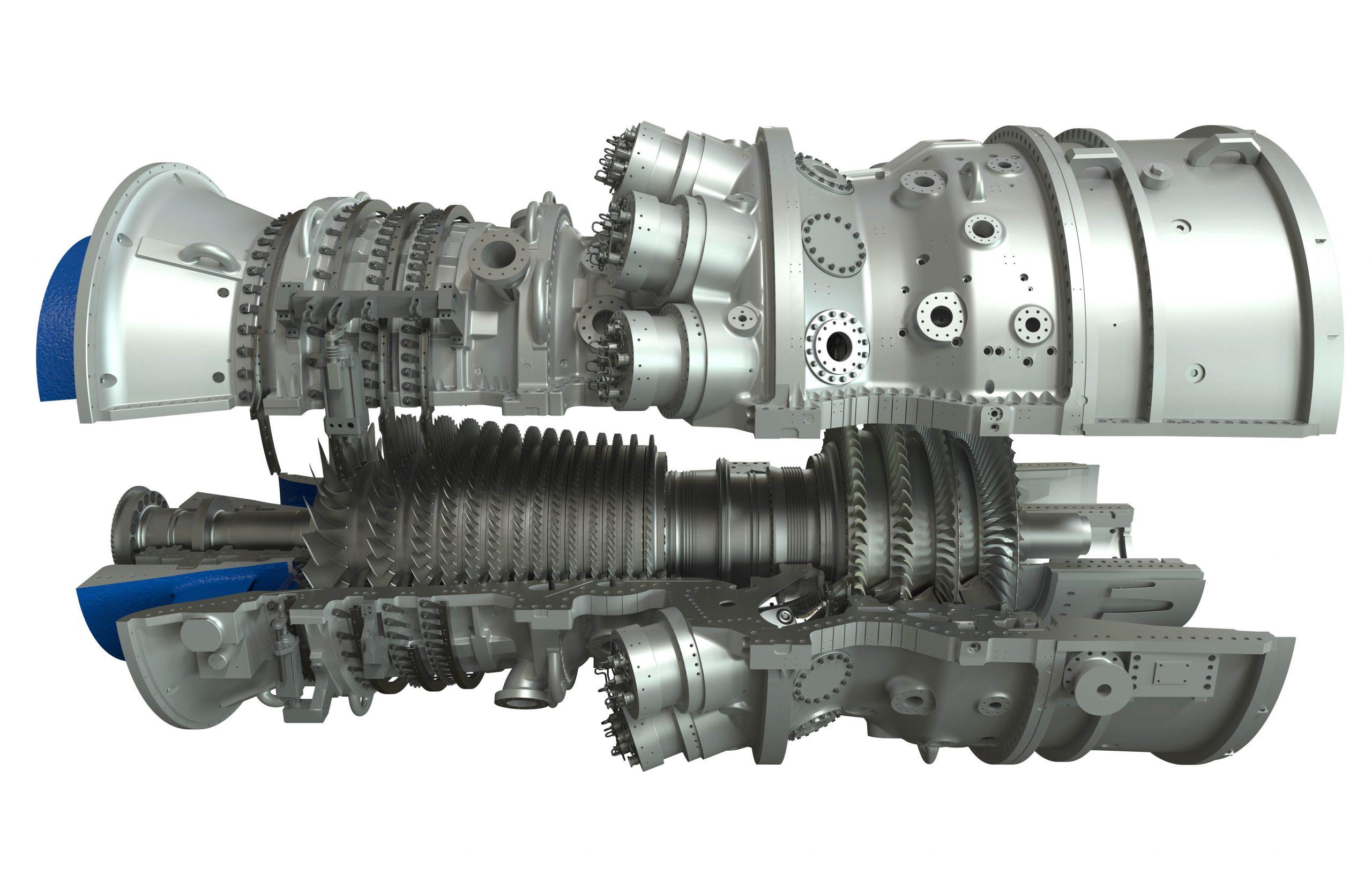 """""""PSP31406-03, 7HA  Gas Turbine, 3D Illustration,  cutaway, half shell, rotor,  DI-3300x5100"""""""